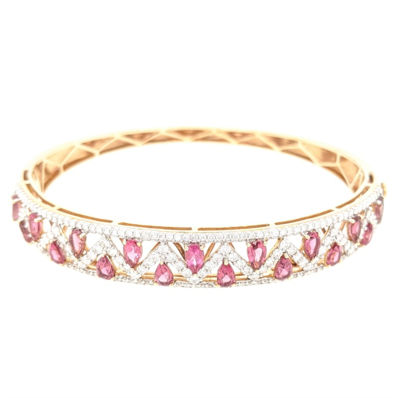 Pink Tourmaline & Diamond Bangle