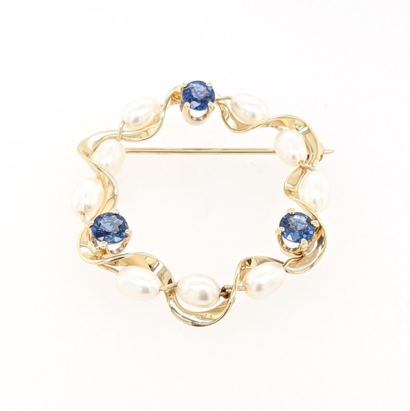 Sapphire and Pearl Pin