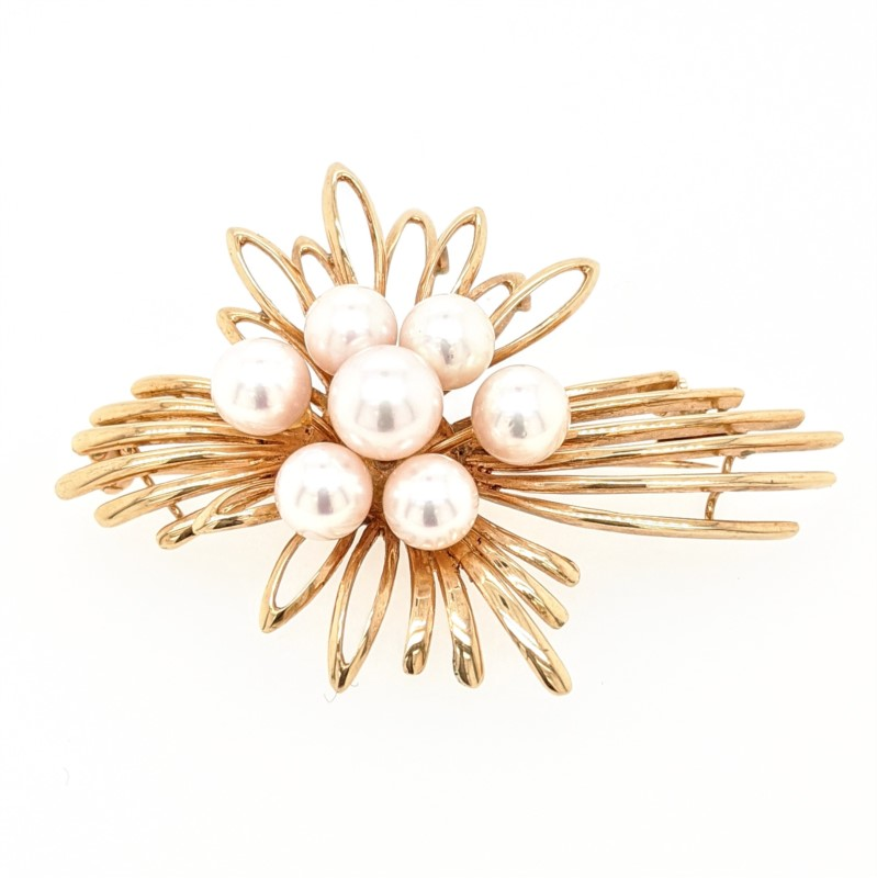 Floral Spray Pearl Pin