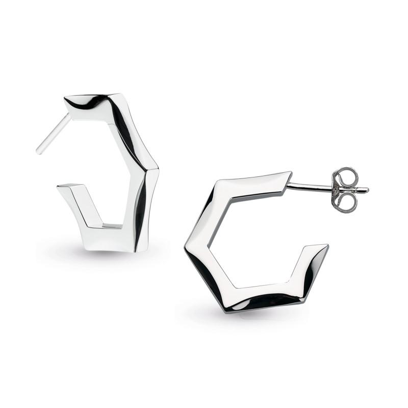 Hexagonal Stud Hoop Earrings