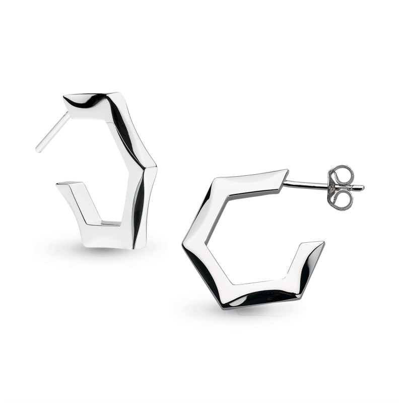 Hexagonal Stud Hoop Earrings