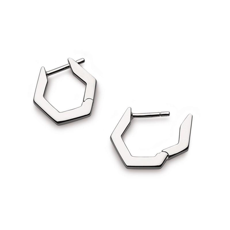 Hexagonal Huggie Earrings