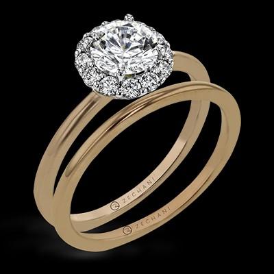 Rose Gold Halo Wedding Set